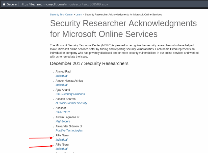 Microsoft acknowledgement