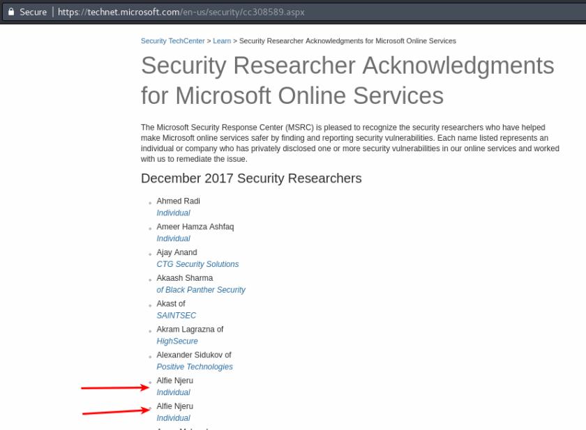 Microsoft acknowledgement